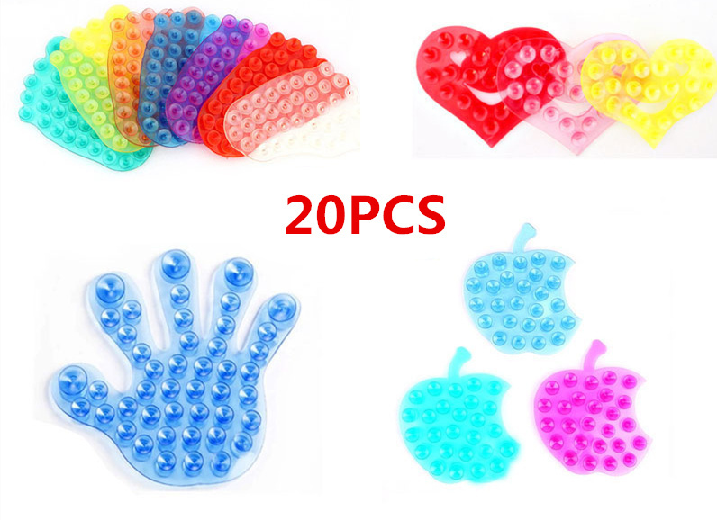20 PCS Double-sided transparent vacuum affixed, bathroom magic glove slip space sucker, strong hook,Suction Palm PVC Suction Cup(China (Mainland))
