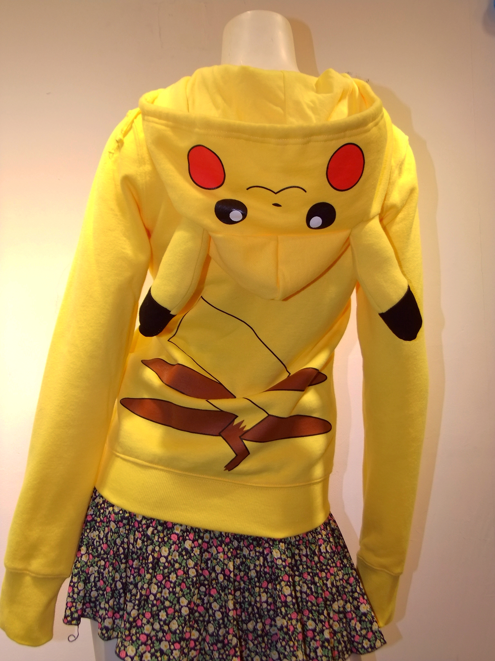 store product Fast Delivery Japan Anime Cool Pokemon Pikachu Hoodie Hoody Cosplay Costume Clothes Yellow for women and