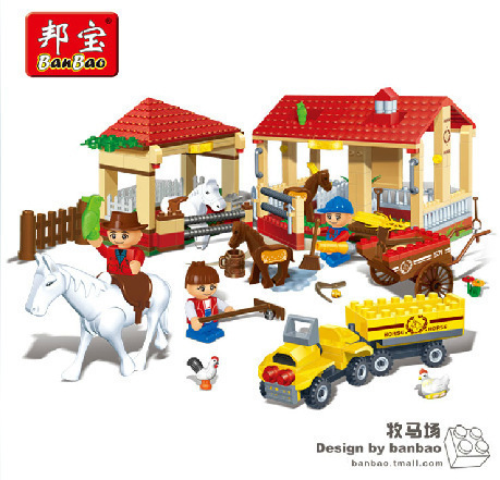 building block set Compatible with Lego Banbao Happy Farm series 8571 Stable 338pcs Children Bricks Toy Birthday Gift<br><br>Aliexpress