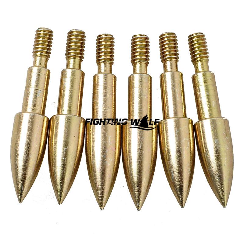 12PCS 100 Grain Bullet Shape Golden 3 8cm Arrowhead Tip 6PCS Bow and Arrow Hunting Broadheads