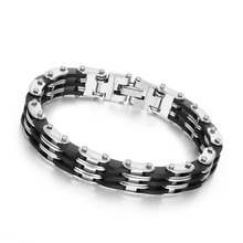 Buy Punk Style Stainless Steel Two Tone Mens Bracelet Link Chain Biker Bicycle Bracelets pulseira masculina Men Jewelry BA101341 for $3.00 in AliExpress store