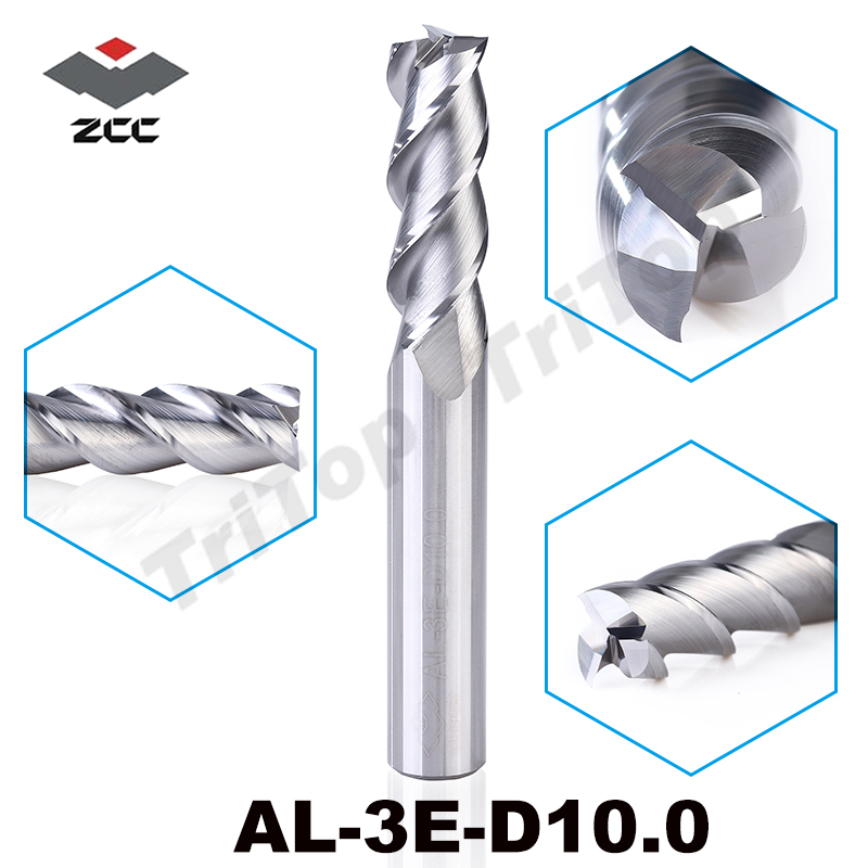 ZCC.CT AL-3E-D10.0 solid carbide 3 flute flattened end mills 10mm cnc tungsten cobalt alloy milling cutter(China (Mainland))