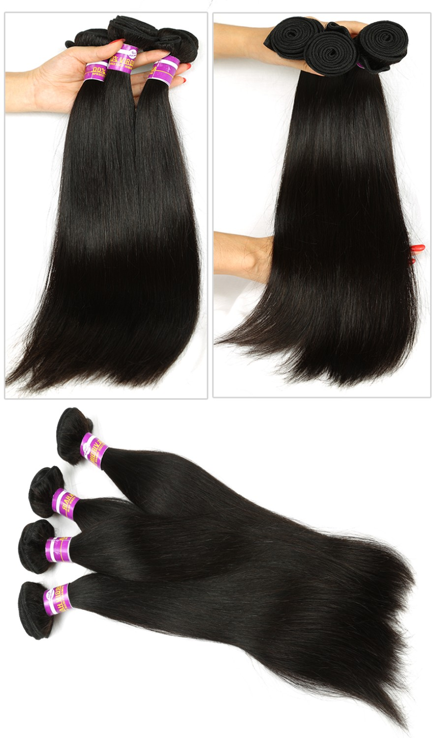 Beauty Forever Hair Mongolian Straight Virgin Hair 100% 7a Mongolian Hair Extentions Recool Unprocessed Straight Human hair