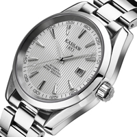 Kassaw Brand Fully-automatic Mechanical Male White Silver Vintage Sports Waterproof Commercial Stainless Steel Wristwatches