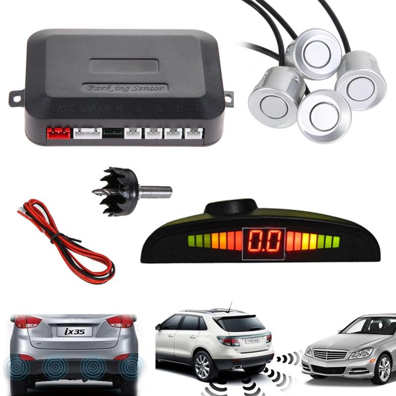 Car LED Parking Sensor Kit Display 4 Sensors 22mm 12V for all cars Reverse Assistance Backup Radar Monitor System Free Shipping<br><br>Aliexpress