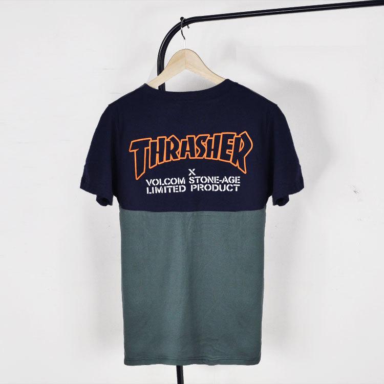 Thrasher Tshirt Brand Hip Hop T Shirt Skateboard Contrast Color T Shirt Men Printed Embo Short Sleeve Cotton Hip Hop Camisetas(China (Mainland))