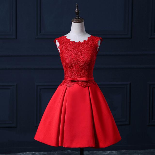 2016 новинка вечерние платья элегантный короткие реальные красный невесты платье ...