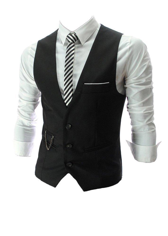 v neck sleeveless slim fit jacket men business suit vests. Black Bedroom Furniture Sets. Home Design Ideas