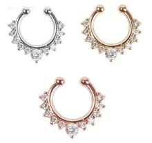 Buy 6 pcs/lot moda joyas 316 L Surgical Steel Crystal Fake Nose Ring fake septum rings Piercing Body Jewelry Hoop Aros Women for $5.99 in AliExpress store