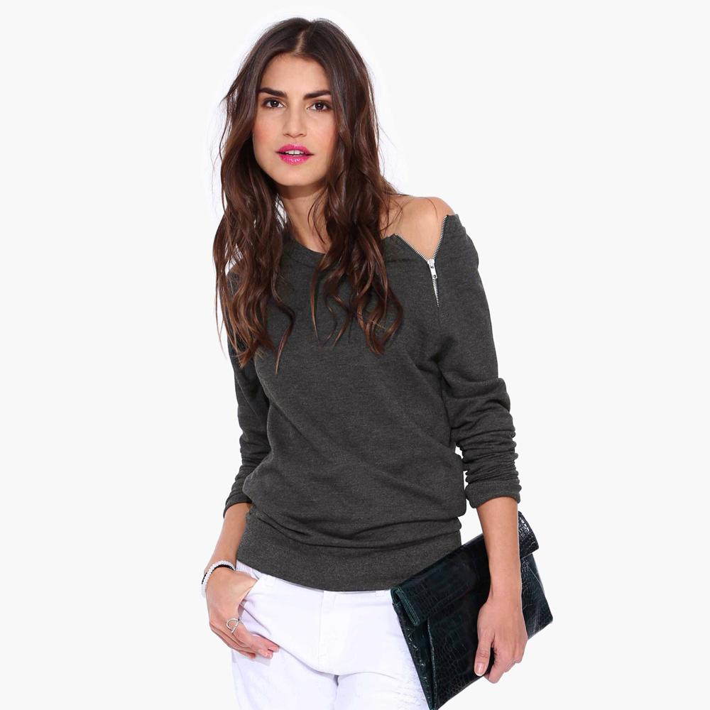 Shirt design female - Wholesale Side Zipper Tshirt Women Tops Autumn Winter Long Sleeve Casual Women T Shirt Off Shoulder Stlish Women T Shirt Black Grey