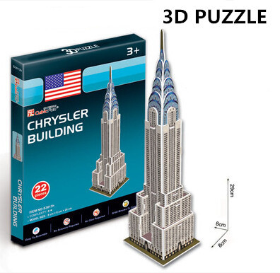 Free Shipping 3D Puzzles Architecture Cardboard Model Chrysler Building World Famous Building Assembly DIY Toys For Kids(China (Mainland))