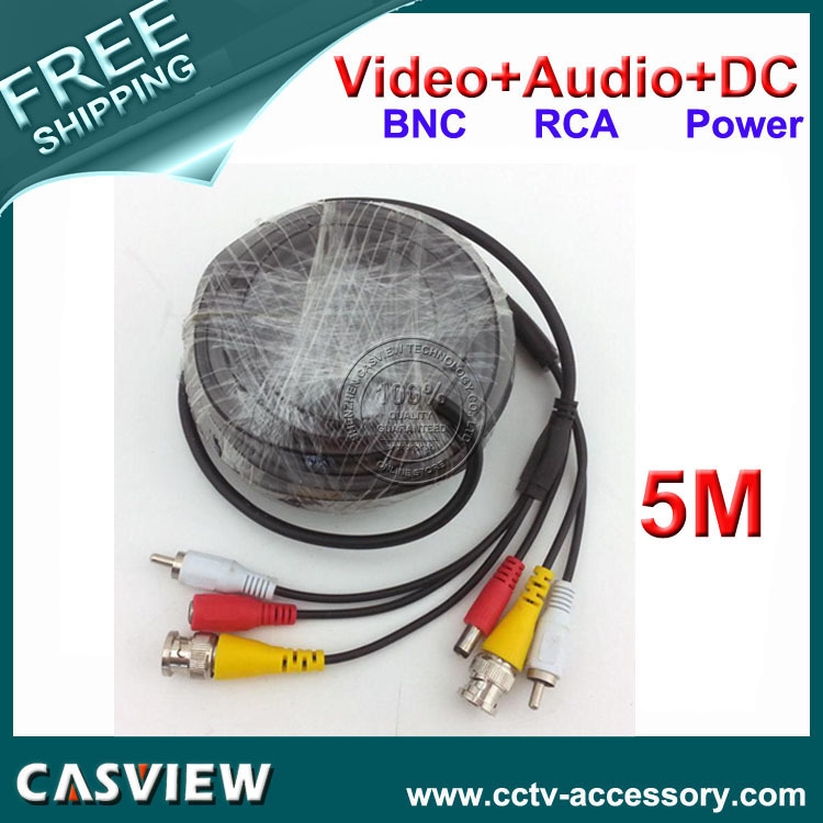 Free shipping 1PCS 5M 16FT BNC Video DC Power RCA Audio All in one wire CCTV Camera DVR Security Cable Pure copper conductor(China (Mainland))