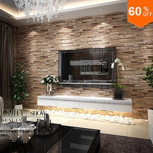 Stone 3D Wood Blocks Effect Brown Stone Brick 10M Vinyl Wallpaper Roll Living Room Background Wall Decor Wall Cover Thicker(China (Mainland))