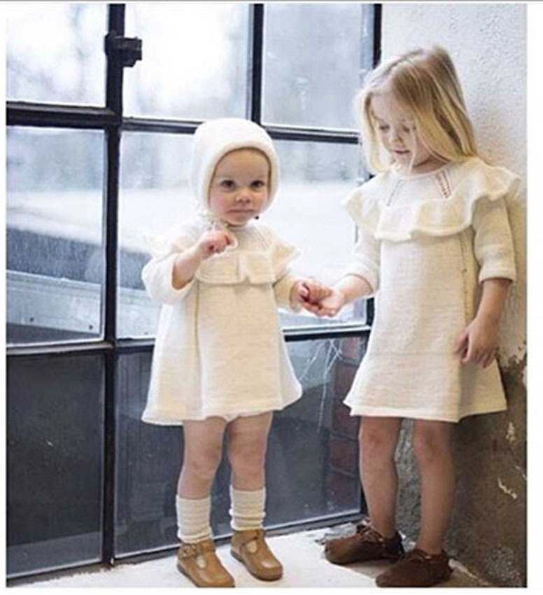 Autumn Hot Girl Princess Sweater Dress Wool Knitted High Quality Cute White Baby Dress with Cap 2015 New Kids Dresses for Girls(China (Mainland))