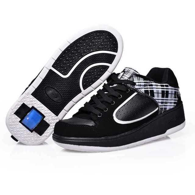 Новый мальчик Heelys обувь дети дышащий мода кроссовки скейт роликовые колеса обуви ...