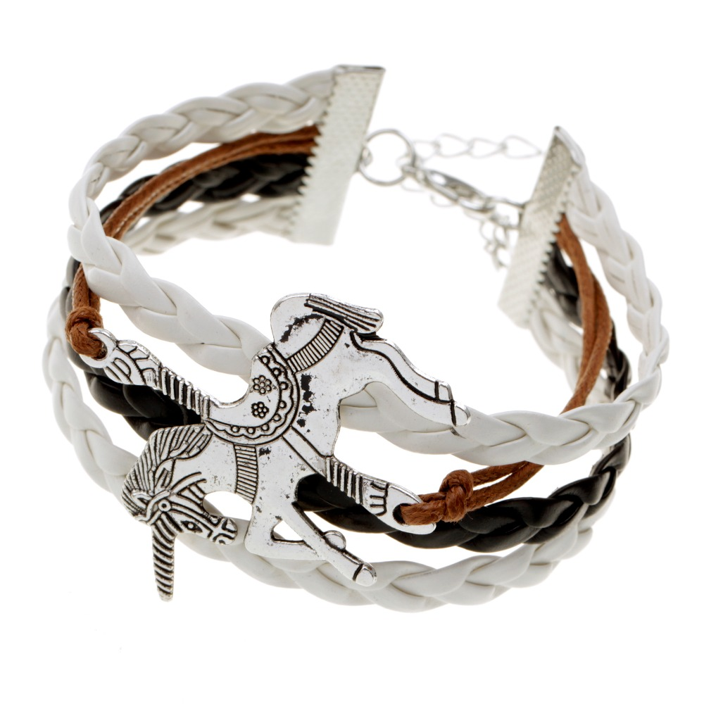 Retro fashion black white brown silver horse alloy multilayer woven leather cord bracelet jewelry gifts(China (Mainland))