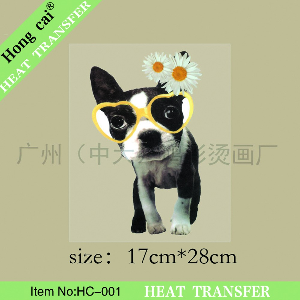 Custom Peach flowers glasses dog offset printing wholesale Ordinary quality Transfers Film DIY Patch for T-shit(China (Mainland))