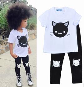 New 2016 new spring girls cartoon clothing sets baby girl kitten t-shirt + black pants clothing sets kids casual clothing set(China (Mainland))
