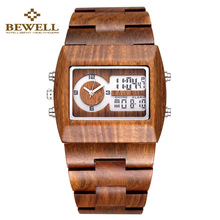 Bewell wood watch Men Dual Time Mens watches 2016 top luxury brand Verawood Wristwatch Water Resistant Trendy Luminous Watch(China (Mainland))