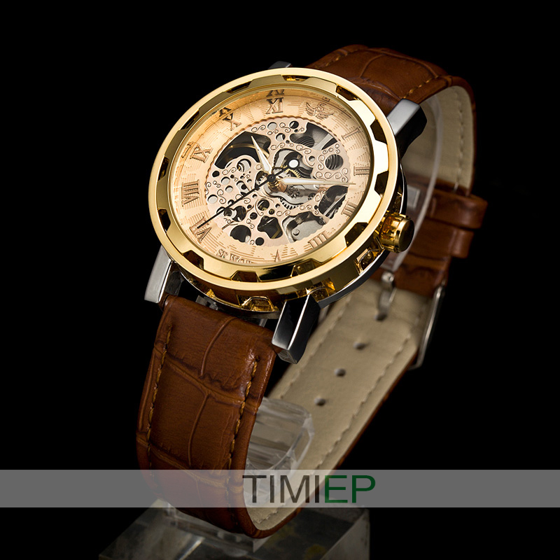 Mens Luxury Watch Gold Tone Skeleton Auto Leather Gift! - Guangzhou TIMI Trade Co., Ltd. store
