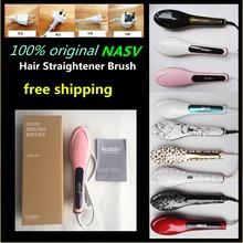 Newest ! Salon used 100% original NASV hair straightener brush with product certificate(China (Mainland))
