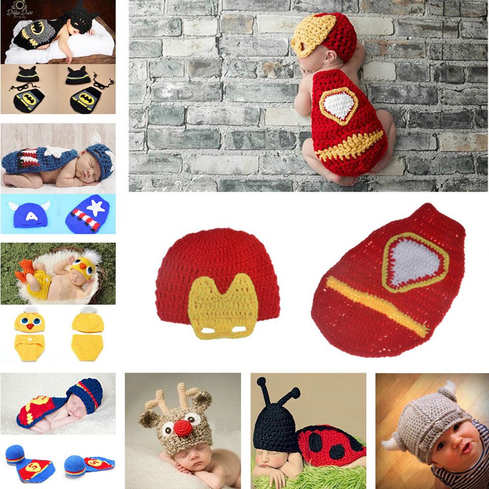 0-6M Newborn Baby Photo Props Iron Man Design Infants Crochet Hat+Cover Set Baby Beanie Crochet Photography Props 1pcs MZS-15043(China (Mainland))