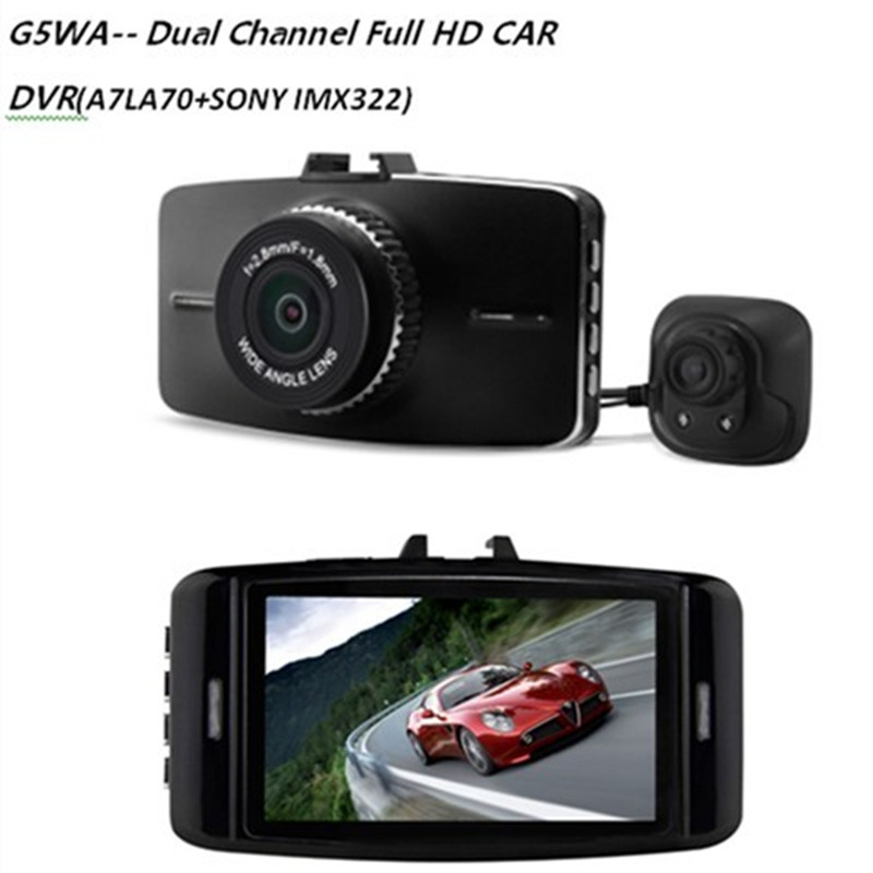 New 1920 1080P 30fps G5WA Dual Channel Full HD CAR dvr Ambarella A7LA70 Dual Lens 1080P