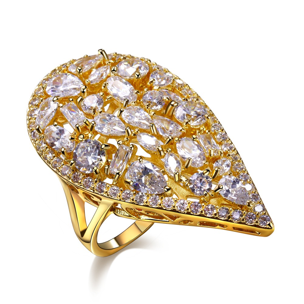 New Coming CZ Rings For Women AAA Quality Cubic Zirconia Prong Setting Ladies Party Ring 18K Gold Plated Hear Shape Fashion Gift(China (Mainland))