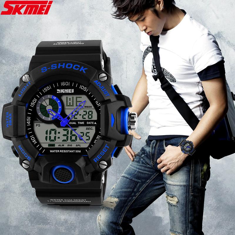 Горячая распродажа марка SKMEI S анти-шок мужчин спорта цифровой из светодиодов часы свободного покроя военная многофункциональные наручные 5ATM водонепроницаемый ZBG3027