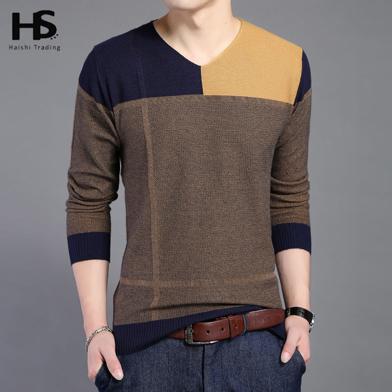 Hot Sale Long Sleeve Sweater Shirt Men V-Neck Pullover Men Fashion Patchwork Pull Homme Spring Autumn Dress Brand Sweaters 6654(China (Mainland))