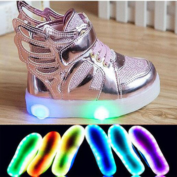 2016 Fashion LED light high quality children shoes soft cute boys girls shoes casual Cool kids shoes slip on children sneakers