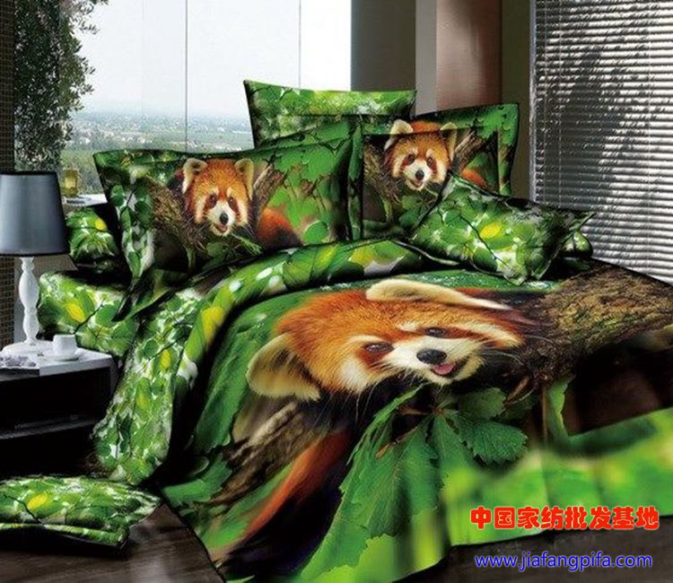 3D Green animal print bedding comforter set sets queen size bedspread bed sheet sheets duvet cover quilt cotton small raccoon(China (Mainland))