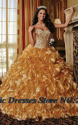 2015 Gold Quinceanera dresses Ball gown 15 years Organza Sweetheart Vestidos De Anos Formal Prom Party Gown - Romantic bride wedding dress Suzhou Co., Ltd. store
