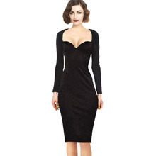 Free Shippin New Fashion Autumn-Summer Lady Noble Celeb Long Sleeve Show Chest Evening Fit Formal Party Slimming Pencil Dresses(China (Mainland))