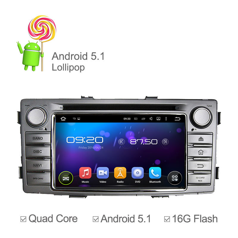Quad Core Pure Android 5.1 Car Radio DVD Player For Toyota Hilux 2012 Stereo Audio Head Unit GPS Navigation 16GB Nand Ipod(China (Mainland))
