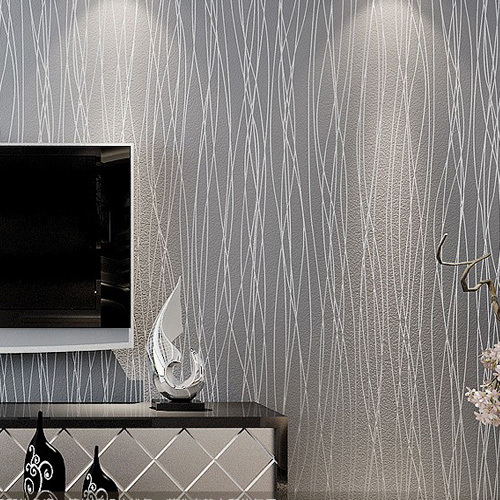 Striped wallpaper glitter solid wall paper non woven for Cheap glitter wallpaper
