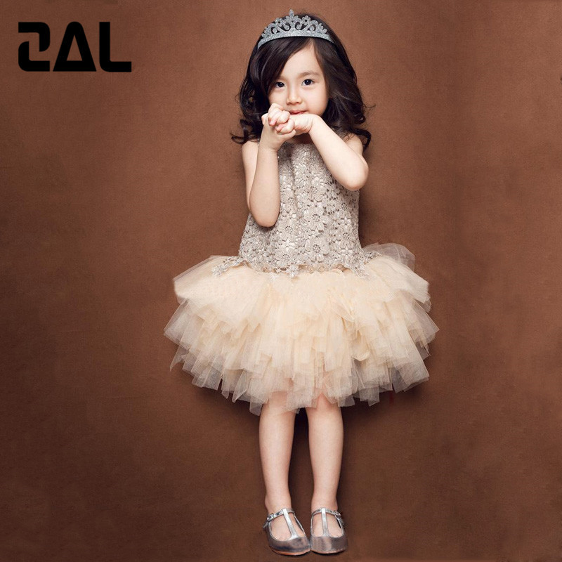 2015 New Cotton Lace Champagne Puff Girls Princess Cake Dress Noble Atmospheric Tide Fan Children Dresses for Girl 1D(China (Mainland))