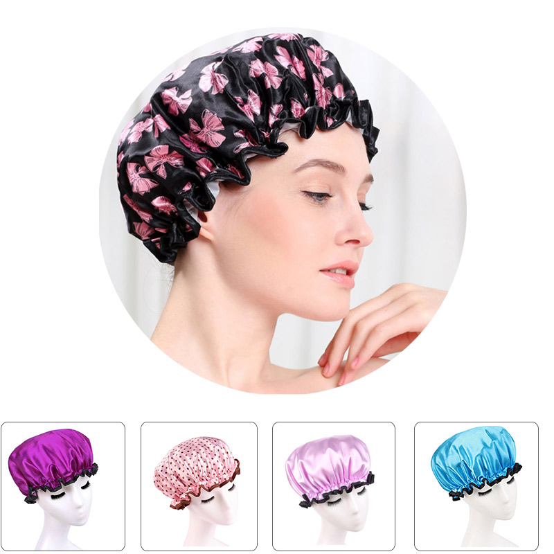 Fashion Colorful Printed Soft Satin Fabric Shower Caps Waterproof Spa Bath Elastic Hat Cap Bathroom Kitchen Household For Women(China (Mainland))