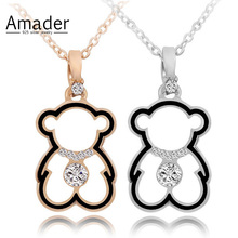 Buy Amader Fashion Crystal Necklace Lovely Gold Color Hollow Bear Pendants Necklaces Cute Cartoon Animal Jewelry Women Child Gift for $1.99 in AliExpress store