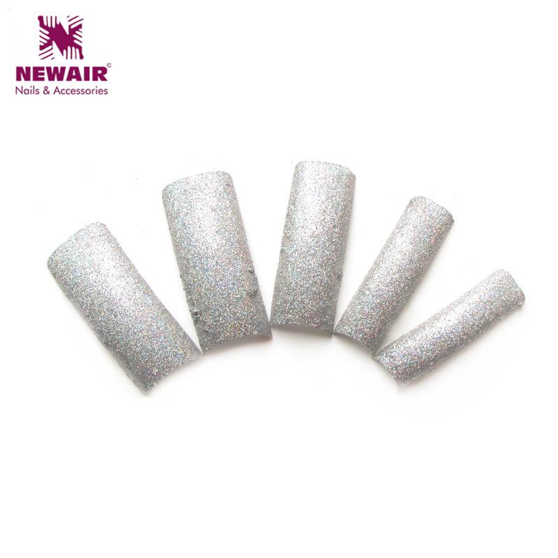 2016 Fall Winter Design Luxury Silver Glitter Nail Tips Fashion Decoration Nail French False Nails 70 Pcs/Lot Art Tips(China (Mainland))