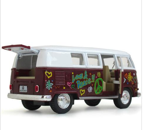 1:32 Diecast & Toy Vehicles,Volkswagen Bus Toy, VW Bus Metal Car Toy Model, Brinquedos, Miniature, Pull Back, Doors Openable Bus(China (Mainland))