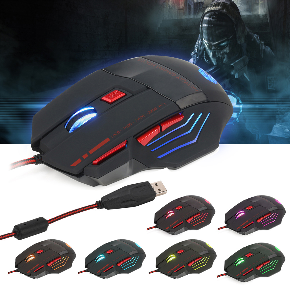 1.4m Cable Length Professiona Gamer mouse 3200DPI HXSJ H200 w/ Fire Button 7Keys Wired LED Optical Gaming Mouse for PC Laptop