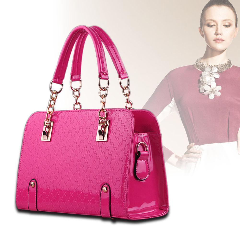 Women Handbag Shoulder Bags Tote Purse Leather Lady Messenger Hobo Rose Red(China (Mainland))