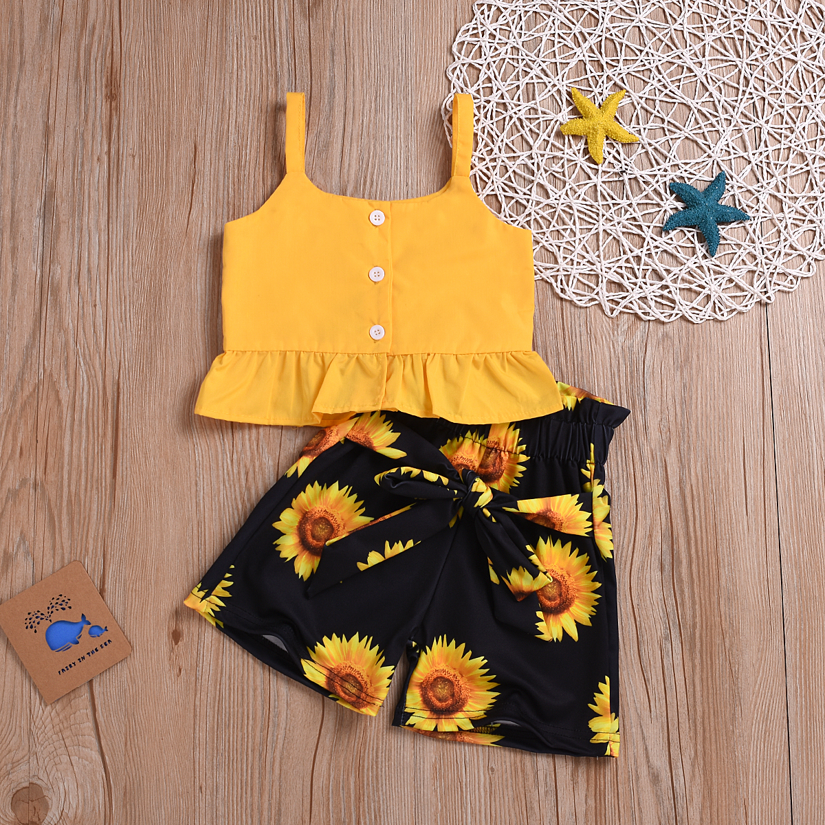 2PCS Girl Cute Bow Vest Tops Shorts Pants Clothes Summer Outfits Skirt Set