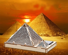 Freeshipping Children DIY 3D LED Light Solar Assemble Pyramid of Khufu Toys Wooden Toys For Gift(China (Mainland))