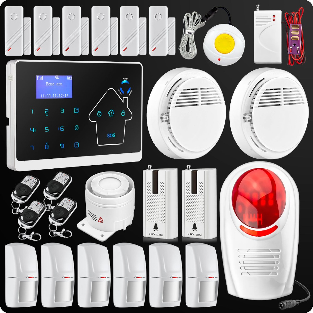 Intelligent Touch Keypad Alarm System GSM PSTN Dual Network anti-theft Home House Security Alarm System +Wireless Strobe Siren(China (Mainland))
