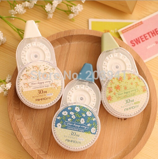 New Fresh design correction tape beautiful little flowers correction sticker 30m long tape for student's writing correcting(China (Mainland))