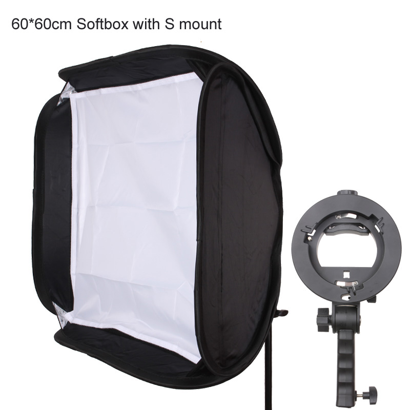 60*60cm Photo Softbox + Pro Handle Grip Bracket S Bowens Mount Holder with Carry Bag for Speedlite Flash Snoot Softbox<br><br>Aliexpress