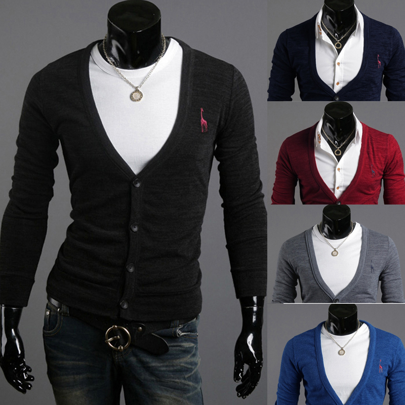 2015 new spring trade selling classical deer embroidery slim long sleeved men cardigan 6 color ,4 size 5509(China (Mainland))
