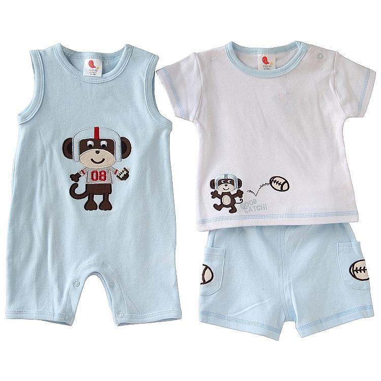 summer boy cotton suit Infants Baby casual wear three-piece - Children Castle store